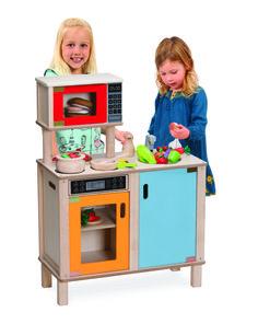 Flot legekøkken fra Wonderworld med ovn, blus, vask og microovn i lysblå, orange og røde farver. Der er klik-lyde i knappen. Lågerne kan åbnes og lukkes. #Legekøkken #Legemad #Wonderworld #NytLegetøj