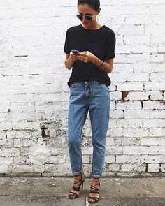 Mom jeans and heels