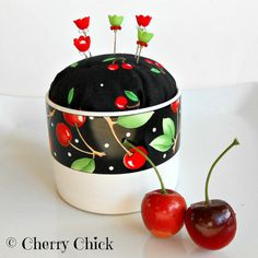 Pincushion - Mary Engelbreit Mug - Cherry Fabric Pincushion - PinKeep – Cherry Pincushion - Cherries - Sewing Pins - Gift for Quilters