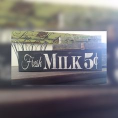 Handmade Black and White Rustic Fresh Milk Wood Sign. Country decor sign, farmhouse decor sign, kitchen signs, rustic signs, handmade signs by LoveTheJunk on Etsy