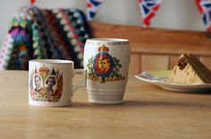 Jubilee beakers and mugs. Store your stuff in patriotic fashion! We think these mugs deserve a new lease of life. Use them on your desk as pen pots or in the bathroom for your toothbrushes. From thebrocante.co.uk
