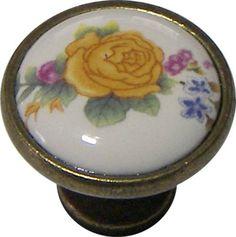 Πομολάκι επίπλων αντικέ μπρονζέ με πορσελάνη και λουλούδι Ø31