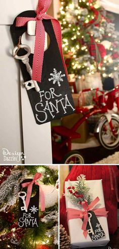Magic Key for Santa. Use indoors for a cute decoration and hang at the front door on Christmas Eve. If you don't want to craft this project, we have the free chalkboard printable for you to just print and cut!!  Also, free printable Santa's Magic Key poem. Design Dazzle
