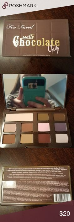 Too Faced Matte Chocolate Chip Palette Pocket sized palette of 12 iconic chocolate bar shades all matte finish. Vegan and Cruelty Free!! Too Faced Makeup Eyeshadow