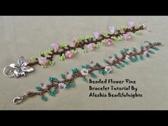Beaded Flower Vine Bracelet Tutorial - #Seed #Bead #Tutorials