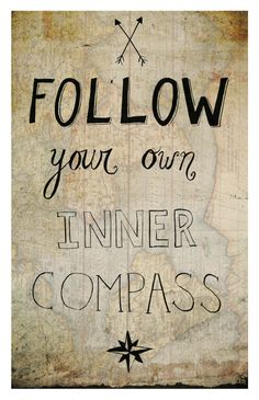 Follow Your Inner Compass, 11 x 17 Print, Illustration Quote Wall Art