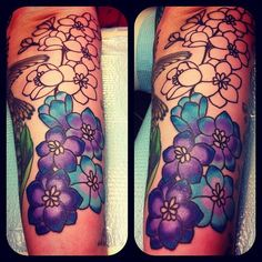 Larkspur tattoo, July birth flower