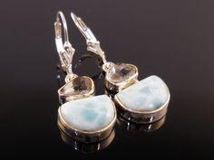 Larimar & Herkimer Diamond (Quartz) Sterling Silver Earrings
