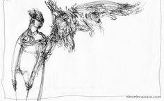 Man with eagle - cm 15x21, biro on paper