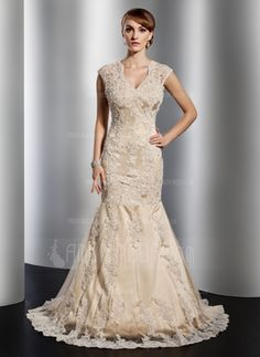 Mermaid V-neck Court Train Satin Tulle Wedding Dresses With Lace Beadwork - JJsHouse Affordable Wedding Dresses, Wedding Dresses For Sale, Colored Wedding Dresses, Wedding Party Dresses, Lace Wedding Dress, Cheap Wedding Dress, Lace Dress, Tulle Wedding, Gold Dress