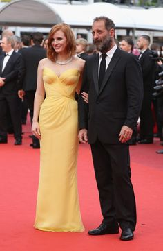 """Jessica Chastain Photos - French actor Vincent Lindon and actress Jessica Chastain attend the """"Cafe Society"""" premiere and the Opening Night Gala during the 69th annual Cannes Film Festival at the Palais des Festivals on May 11, 2016 in Cannes, France. - 'Cafe Society' & Opening Gala - Red Carpet Arrivals - The 69th Annual Cannes Film Festival"""