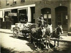 A man driving a horse-drawn cart, 5 - 9 Carlton Street, 1928, Worcester Massachusetts.