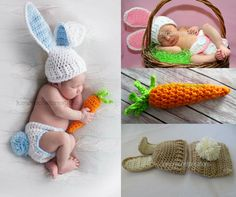 Crochet Bunny Hat, Diaper Cover with Tail, Crochet carrot, EASTER Photo Props, shower gift, Preemie, newborn - 6 months, baby boy, baby girl by kimcrochetcreations on Etsy