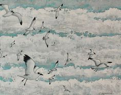 Seagulls painting, seabirds and white clouds painting, original bird art, white blue grey, acrylic on wood, 11 x 14 inches art ready to hang