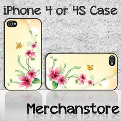 Cute Butterfly And Flowers Custom iPhone 4 or 4S Case Cover