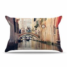 "Sylvia Coomes ""Venice 10"" Beige Brown Pillow Case"