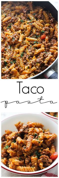 The flavors of tacos combined with pasta makes for a delicious meal that's great for busy weeknights. Just 30 minutes until this one pot dish is on the table!