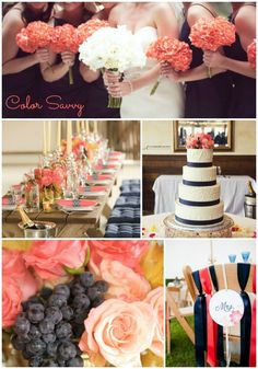 Color Inspiration: Coral and Navy Wedding #coralwedding #wedding #weddingcolors #weddingdecorations #navywedding #navyandcoral #coral #navy #weddingideas #weddinginspirations #colorschemes
