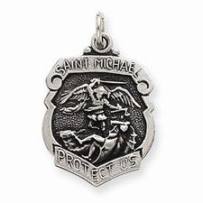 Sterling Silver St. Michael Badge Medal, Alluring Charm