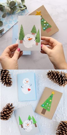Potato Stamped Snowman Cards Potato stamped snowman cards – a fun and festive DIY winter craft for kids! These potato stamped snowman cards are a great gift for your loved ones! Christmas Arts And Crafts, Winter Crafts For Kids, Preschool Christmas, Diy Christmas Cards, Christmas Activities, Kids Christmas, Holiday Crafts, Christmas Snowman, Winter Diy