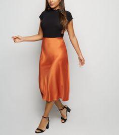 4090ae6b03bb Petite Rust Satin Bias Cut Midi Skirt
