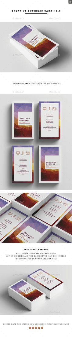 Creative Business Card No.6 — InDesign INDD #modern design #bright colors • Available here → https://graphicriver.net/item/creative-business-card-no6/15419232?ref=pxcr