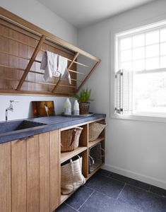 River House - Featured Projects - Monique Gibson Laundry Room Design, Laundry In Bathroom, Laundry Rooms, Small Laundry, Bathroom Vinyl, Room Interior, Interior Design Living Room, Interior Ideas, Küchen Design