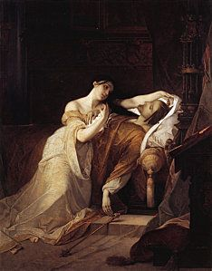 """""""Jeanne la Folle"""", By Louis Gallait, 1856. A representation of Juana I of Castille embracing the cadaver of her husband, Philip the Handsome."""