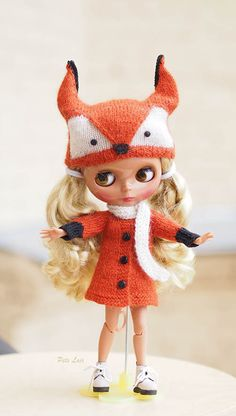 Knitted outfit for blythe, Fox costume, set fox, fox hat, coat, scarf, Coat Angora wool cardigan, for doll BJD, small dolls, MADE TO Order  If you like this dress, welcome to my #ETSYETSY #PetsLair. Active link on my profile