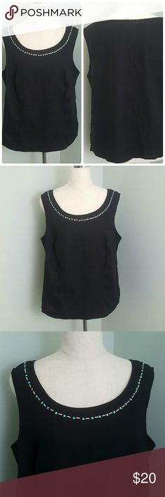 Rhinestone Top Tank top with rhinestones trim. Bust 40 inches. Length 22 inches Dress Barn Tops