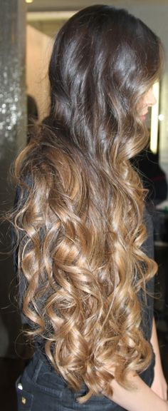 """long curled brunette ombre hair with caramel ends. wow!""  Hahaha...my hair is NATURALLY like this.  Be jealous."