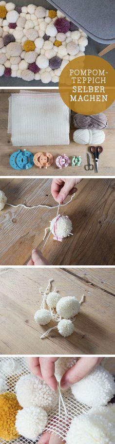 DIY-Anleitung: Dein eigener Badvorleger mit Pompoms, Bad Accessoires / diy tutorial: how to craft a bathmat with pompoms, bathroom via DaWanda.com