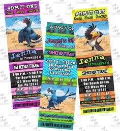 """Rio Ticket Birthday Invitations & Party Supplies available... This ticket style invitation in the Rio theme will """"WOW"""" your party guests. Customized just for you; party supplies to match are available.. 17 different design styles to choose from.. Only 9.99 ~ http://www.bonanza.com/listings/U-Print-Rio-Ticket-Birthday-Invitations-Party-Supplies-available/37469088"""