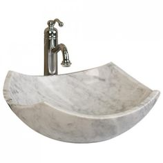 Curved Origami Polished Marble Vessel Sink - Cream Egyptian Marble - Bathroom