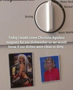 Christina Aguilera clean/dirty magnets for your dishwasher.  I am 110% willing to make these - LC