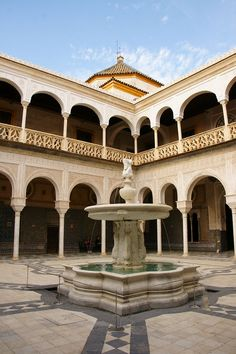 Spain: Seville in Spring Patio Central, Destinations, Story Setting, Spain And Portugal, Andalusia, Beautiful Buildings, Garden Styles, Places Ive Been, Mansions