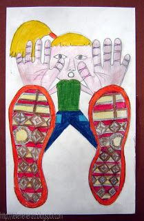 You need: white drawing sheet size colour pencils coloured paper for background Sneakers have beautiful soles; sometimes the soles bette. Artists For Kids, Art For Kids, Drawing Pictures For Kids, Oil Pastel Crayons, Drawing Sheet, Beginner Art, Jr Art, Perspective Art, 4th Grade Art