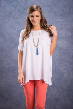 Show Your Soft Side Piko Top, White || OMG! Your fave Piko top is back in a neutral must have! This figure-friendly tunic is so soft we can't even find a word to describe it! Grab the nearest puppy or kitten for a better idea of what this essential top has goin' on;) Must Haves, Cool Outfits, Tunic Tops, Spring 2016, My Style, Model, Neutral, Kitten, How To Wear