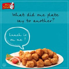 Know any other food jokes or puns? Share it with us! Restaurant Advertising, Food Jokes, Lunch, Plates, Ethnic Recipes, Licence Plates, Dishes, Griddles, Eat Lunch