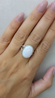 SALE! Opal ring,white opal ring,statement oval ring,sterling silver ring,opal jewelry,cocktail ring,handmade ring