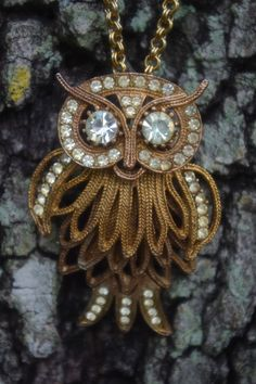 Vintage 1950's Brass Articulating Owl Necklace with Crystal Rhinestones