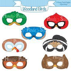 Woodland Forest Birds Printable Masks, woodland turkey mask, owl mask, cardinal mask, bluebird mask, robin mask, duck mask, quail mask,print