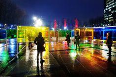 ATOMIC3: Éclats de verre transform Place de Émilie-Gamelin into a field of vibrant hues