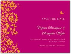 European Swirls - Signature White Save the Date Cards - Lady Jae - Amethyst - Purple : Front