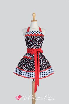 Ruffled Retro Apron , Handmade Flirty Full Womens Apron in Red Black Grey White Floral and Gingham by CreativeChics #aprons #creativechics #rileyblakedesigns