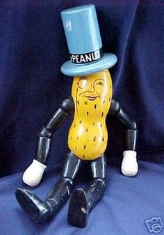 1930's Vintage Planters Mr. Peanut Jointed Wooden Doll on