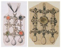renaissance-art: Hans Holbein c. 1532-1543 Design for a Pendant (Jeweled Initials)