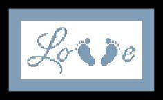 Baby Feet Cross Stitch Pattern LOVE - PDF File - Instant Download - X Stitch Pattern, Embroidery, Baby Pattern