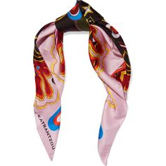 Mary KatrantzouPrinted Silk-twill Scarf (215 CAD) ❤ liked on Polyvore featuring accessories, scarves, pink, mary katrantzou, tie scarves, mary katrantzou scarves and silk twill scarves