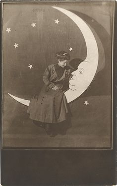 A Lady Talking to the Moon - Real Photo Postcard Paper Moon by Photo_History, via Flickr
